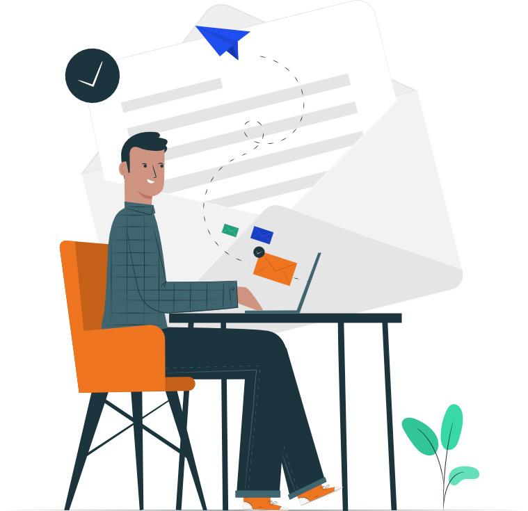 Illustration, homme envoie un e-mail