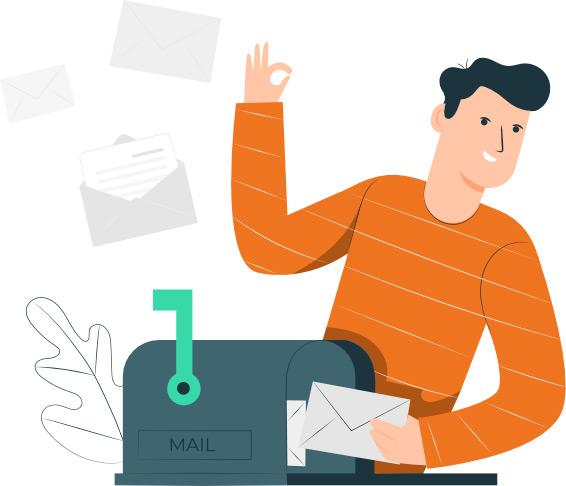 illustration d'un homme postant une lettre