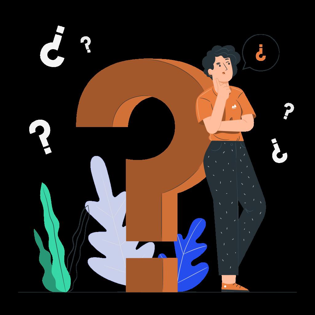 Illustration femme qui se pose une question