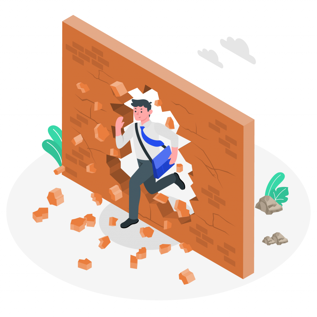 Illustration homme brisant les murs