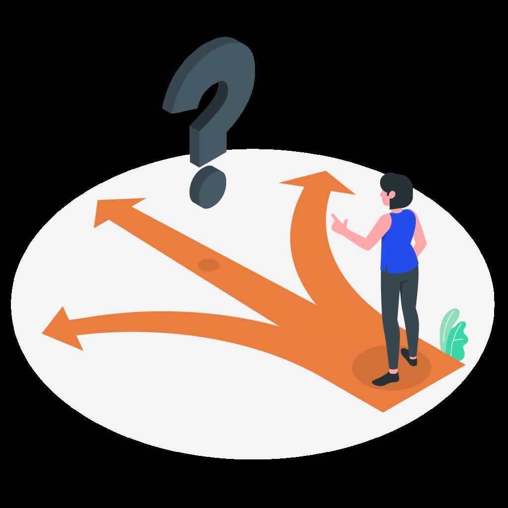 Illustration, femme qui ne sait pas quel chemin prendre