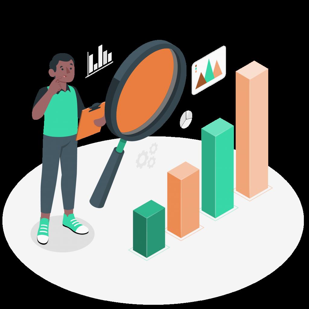 Illustration d'un homme analysant des données