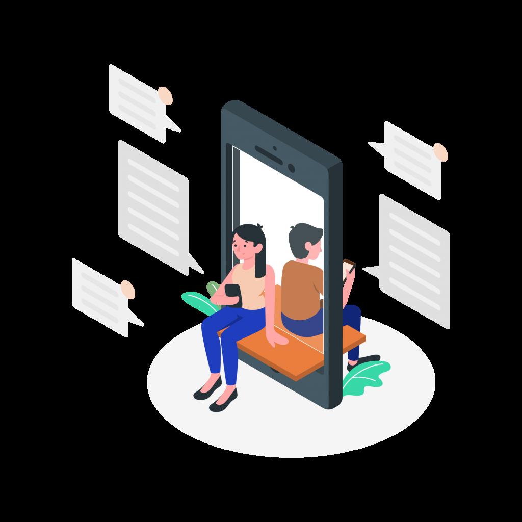 Illustration homme et femme discutant par sms