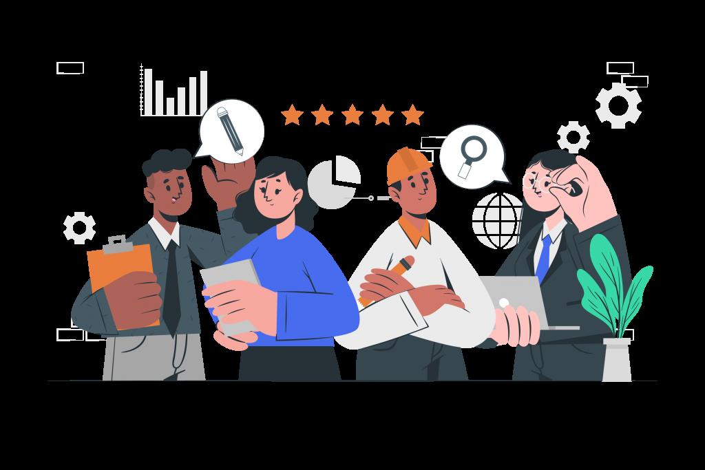 Illustration de quatres experts