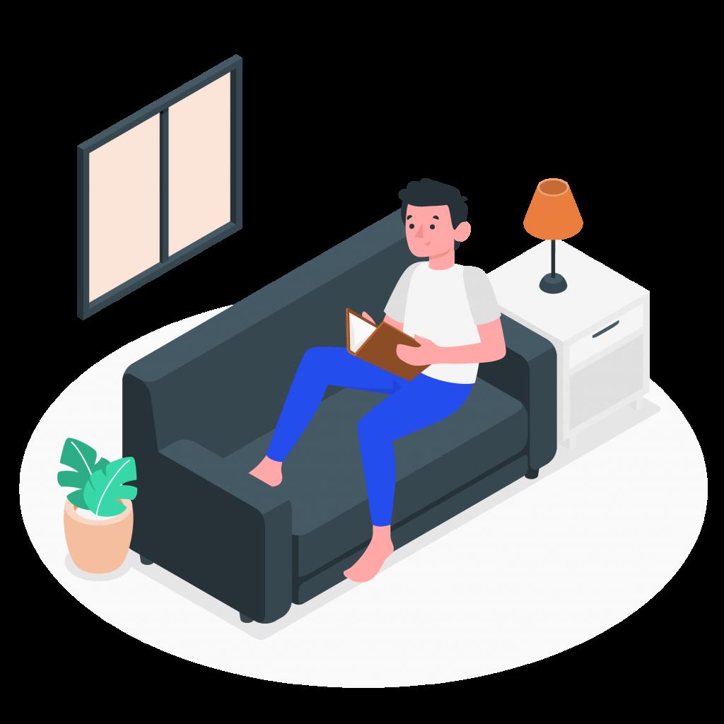 Illustration d'un homme en train de lire
