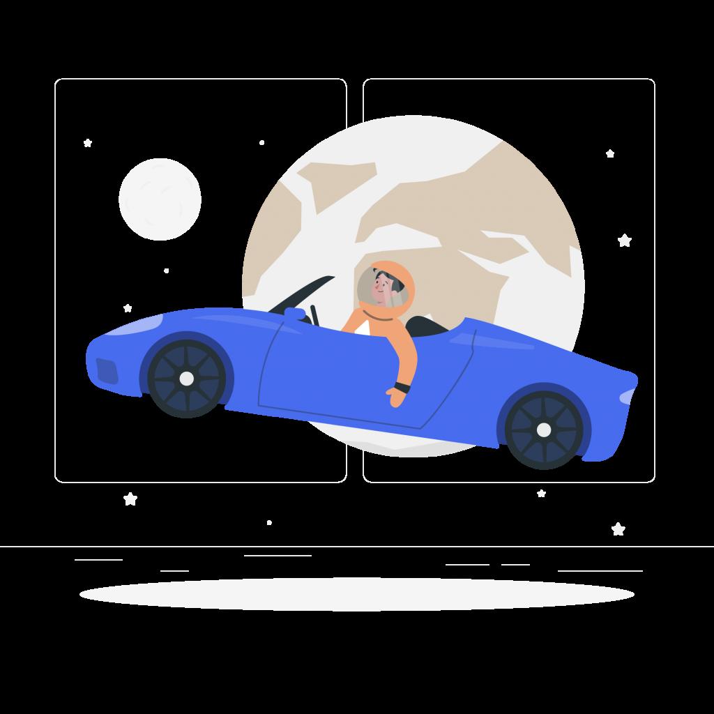 Illustration d'un homme serein conduisant une voiture