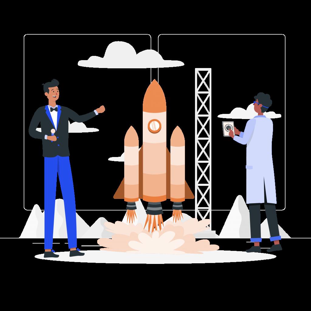 Illustration de deux homme presentant le lancement d'une fusée