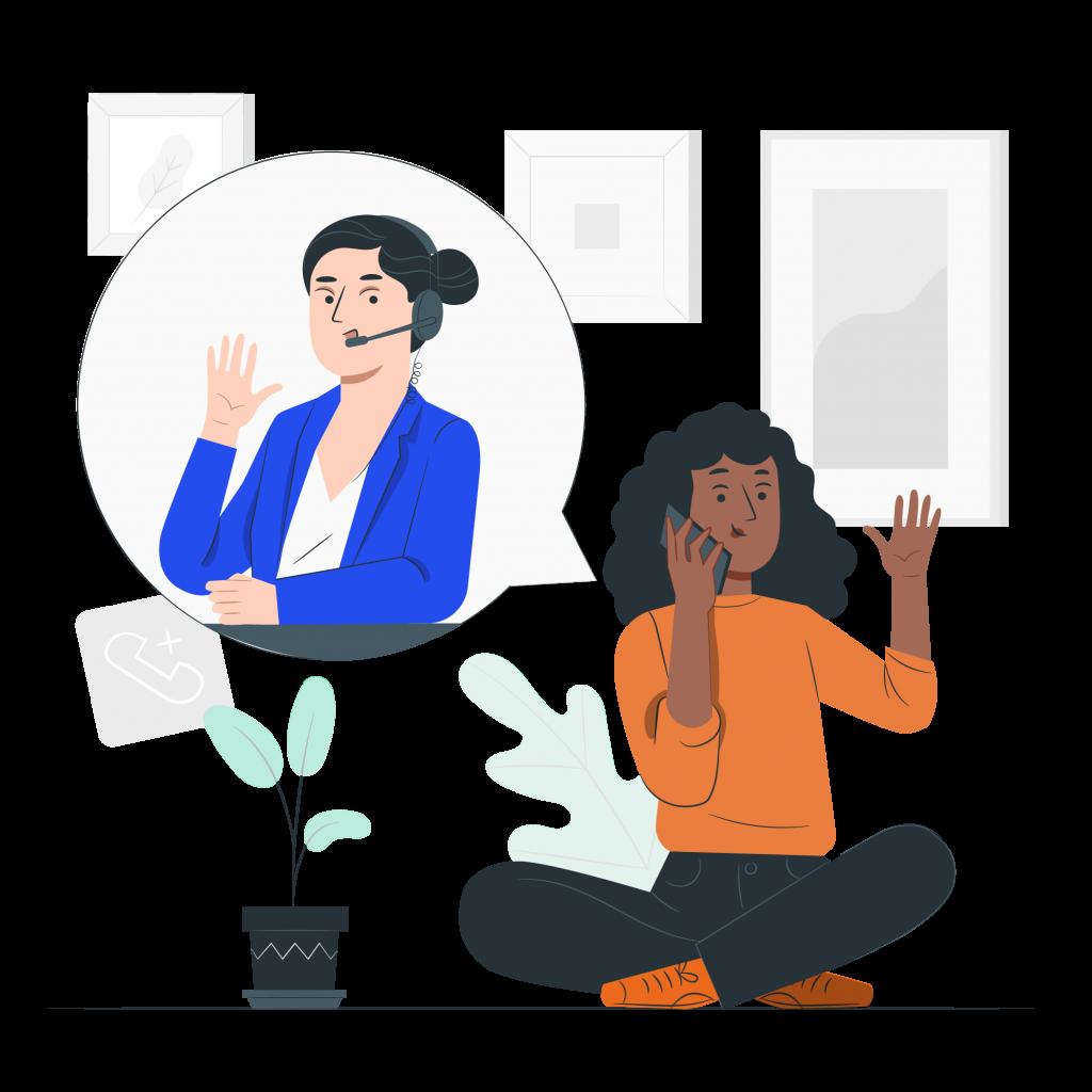 Illustration d'un femme qui téléphone à son prestataire