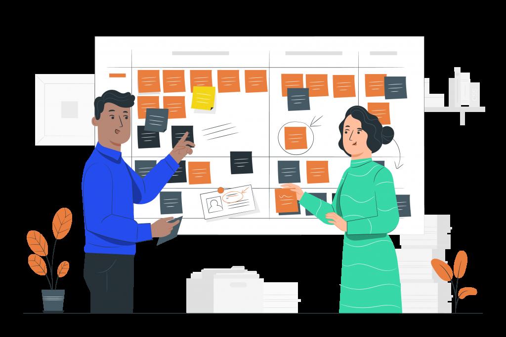 Illustration d'un homme et d'une femme devant un tableau de tâches